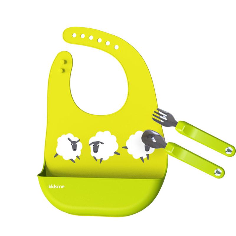 亲亲我Kidsme宝宝吃饭匙具套装 绿色