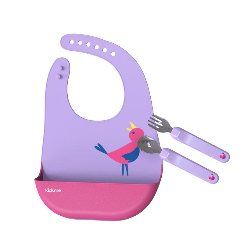 亲亲我Kidsme宝宝吃饭匙具套装 紫色