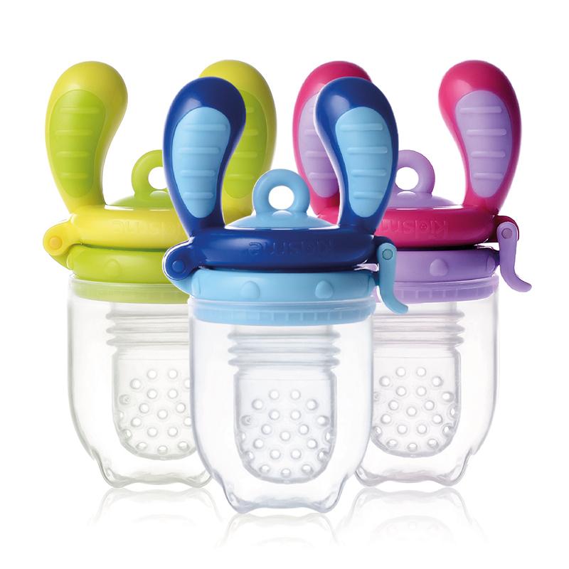 亲亲我(kidsme)咬咬乐咀嚼训练器果蔬硅胶辅食器 一个装(M)-牛角紫色